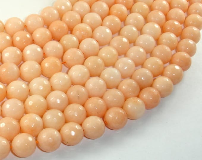 Jade Beads, Peach, 10mm(10.5mm) Faceted Round, 15.5 Inch, Full strand, Approx 37 beads, Hole 1mm, A quality (211025025)