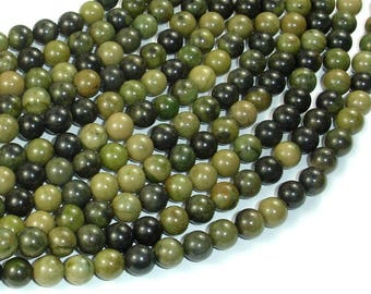 African Green Autumn Jasper Beads, 6mm (6.4mm) Round Beads, 16 Inch, Full strand, Approx 65 beads, Hole 0.8mm, A quality (157054001)