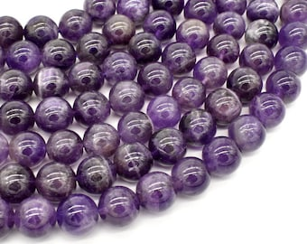 Amethyst Beads, 10mm Round Beads, 15.5 Inch, Full strand, Approx 40 beads, Hole 1mm (115054034)