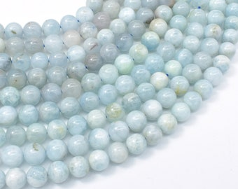 Aquamarine Beads, 8mm (8.4mm) Round Beads, 15.5 Inch, Full strand, Approx 47-50 beads, Hole 1mm (123054025)