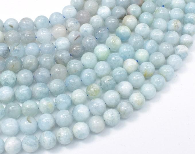 Aquamarine Beads, 8mm (8.4mm) Round Beads, 15.5 Inch, Full strand, Approx 47-50 beads, Hole 1mm (123054025)