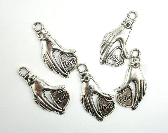 Hand Charms, Zinc Alloy, Antique Silver Tone, 16x31 mm, 10 pcs, Hole 3mm (006873058)