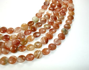 Red Line Quartz Beads, Coin, 12 mm, 16 Inch, Full strand, 35 beads, Hole 1 mm (379008002)