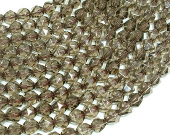Smoky Quartz Beads, 8mm (7.5mm) Star Cut Faceted Round Beads, 13.5 Inch, Full strand, Approx 86 beads, Hole 1mm, A quality (408186001)