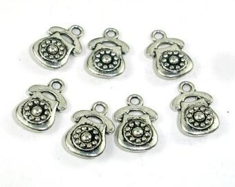 Telephone Charms, Zinc Alloy, Antique Silver Tone, 10x15 mm, 20 pcs, Hole 1.8mm (006873013)