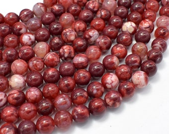 Red Fire Agate, 8mm Round Beads, 15 Inch, Full strand, Approx 48 beads, Hole 1mm (122054289)