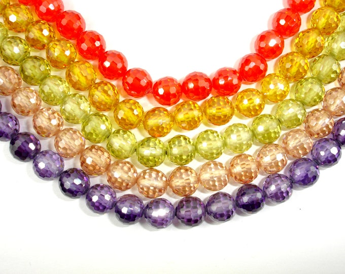 Cubic Zirconia Beads,  CZ beads, 8mm Faceted Round Beads, 6 Inch, 1 strand, 19 beads, Hole 0.8 mm, A quality (ROU0808)