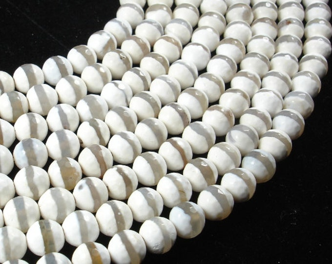 Tibetan Agate Beads,White, Faceted Round, 8mm, 15 Inch, Full strand, Approx 47 brads, Hole 1 mm (122025227)