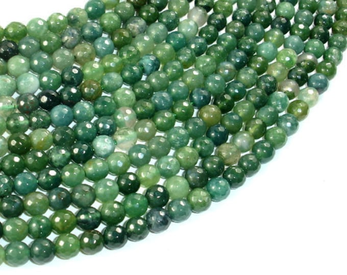 Moss Agate Beads, 6mm Faceted Round Beads, 15 Inch, Full strand, Approx 63 beads, Hole 1 mm, A quality (323025004)
