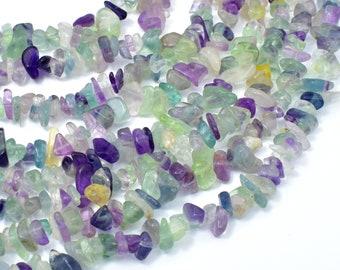 Fluorite Beads, Rainbow Fluorite, 4-9mm Chips Beads, 32 Inch, Long Full strand, Hole 0.8mm (224005001)