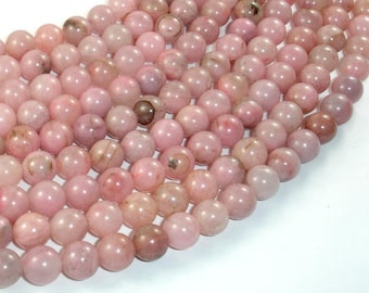 Rhodonite Beads, Light Pink, 8mm (8.3mm) Round Beads , 18.5 Inch, Full strand, Approx 49 beads, Hole 0.8mm, A quality (386054018)