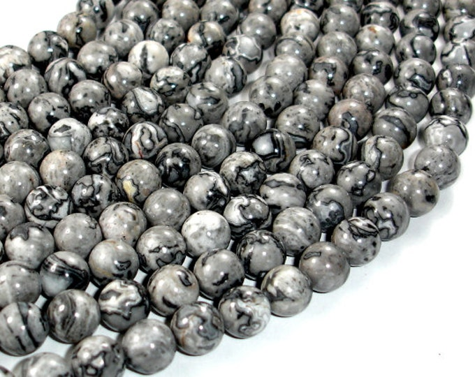 Gray Picture Jasper Beads, Round, 8mm (8.5mm), 15.5 Inch, Full strand, Approx 47 beads, Hole 1 mm, A quality (141054003)