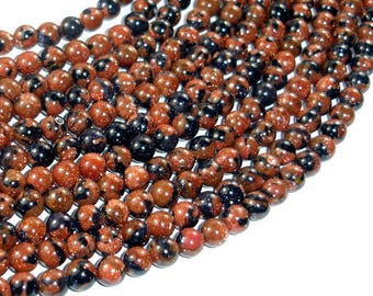 Gold Blue Sand Stone Beads, 6mm Round Beads, 15 Inch, Full strand, Approx 66 beads, Hole 1mm, A quality (459054001)