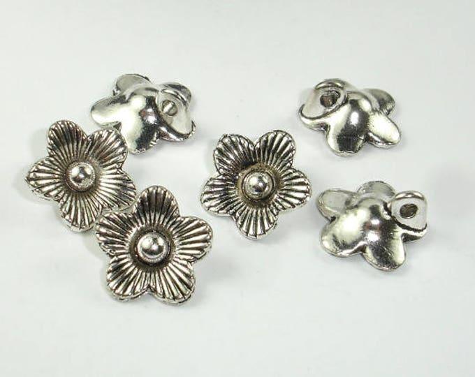Flower Charms, Zinc Alloy, Antique Silver Tone, 14x14 mm, 10 pcs, Hole 2.2mm (006873031)