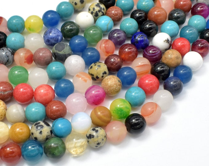 Mixed Stone, 8mm(8.5mm) Round Beads, 15.5 Inch, Full strand, Approx 47 beads, Hole 1mm (318054013)