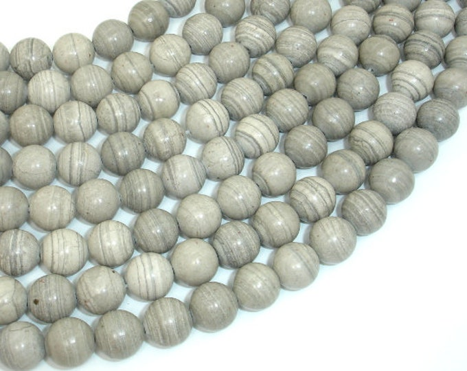 Gray Banded Jasper, 10mm (10.3mm) Round Beads, 15.5 Inch, Full strand, Approx 39 beads, Hole 1mm (288054039)