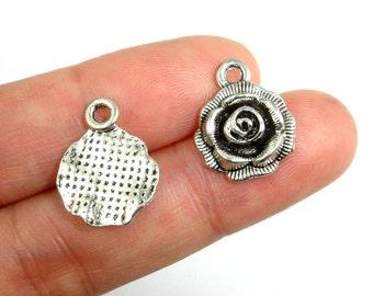Rose Charms, Zinc Alloy, Antique Silver Tone, 14 x 17mm, 10 pcs, Hole 2 mm (006873037)