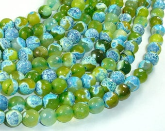 Agate Beads, Blue & Green, 8mm(8.4mm) Faceted Round Beads, 15.5 Inch, Full strand, Approx 47 beads, Hole 1mm (122025306)