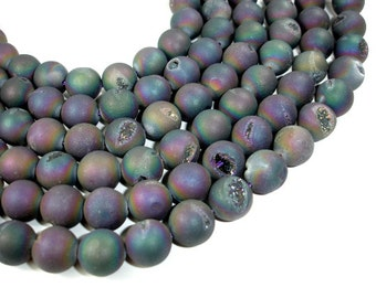 Druzy Agate Beads,  Geode Beads, Matte Peacock, Approx 14 mm, 15.5 Inch, Full strand, Approx 28 beads, Hole 1.2 mm (122054137)