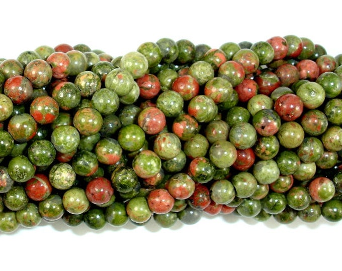 Unakite Beads, Round, 4 mm (4.5 mm), 15.5 Inch, Full strand, Approx 88-95 beads, Hole 10.8mm, A quality (429054007)