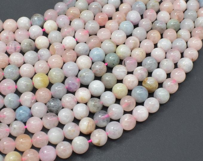 Beryl Beads, Morganite, Aquamarine, Heliodor, 6mm Round Beads, 15.5 Inch, Full strand, Approx 64-67 beads, Hole 0.8mm (133054009)