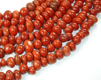 Red Jasper Beads, (8-10)mm x (9-13) mm Pebble Nugget Beads, 15.5 Inch, Full strand, Approx 47-56 beads, Hole 1 mm (371047003)