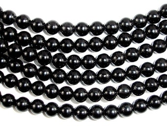 Jet Gemstone Beads, Round, 6 mm, 16 Inch, Full strand, Approx 67 beads, Hole 1 mm (289054001)