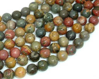 Picasso Jasper Beads, 10mm (10.4mm) Round Beads, 15.5 Inch, Full strand, Approx 39 beads, Hole 1 mm, A quality (344054003)