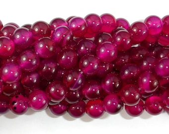 Fuchsia Agate Beads, 8mm Round Beads, 15 Inch, Full strand, Approx 48 beads, Hole 1mm, A quality (122054090)