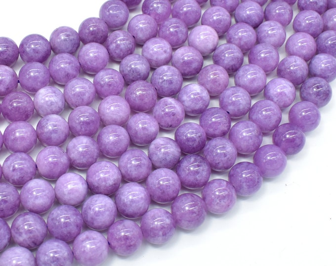 Malaysia Jade Beads- Lilac, 10mm Round Beads, 15 Inch, Full strand, Approx 38 beads, Hole 1mm, A quality(211054184)