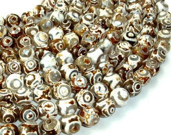 Tibetan Agate Beads, Faceted Round, 10 mm, 14.5 Inch, Full strand, Approx 37 brads, Hole 1 mm (122025245)