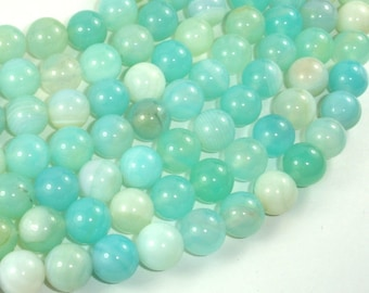 Banded Agate Beads, Light Blue, 10mm Round Beads, 15 Inch, Full strand, Approx 38 beads, Hole 1mm, A quality (132054029)