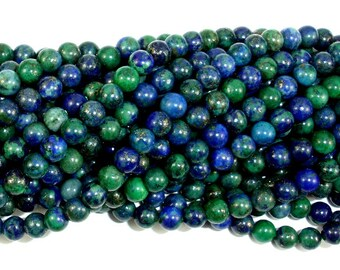 Azurite Malachite Beads, 4mm (4.5mm) Round Beads, 15 Inch, Full strand, Approx 92 beads, Hole 0.8 mm, A quality (129054008)