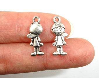 Boy Charms, Zinc Alloy, Antique Silver Tone, 8x19 mm, 20 pcs, Hole 1.5 mm (006873062)