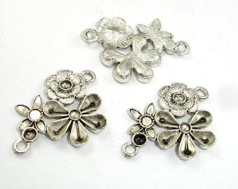 Metal Links, Flower Connector Links, Zinc Alloy, Antique Silver Tone, 19x28mm, 10 pcs, Hole 1.8mm (006855005)
