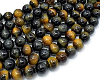 Blue / Yellow Tiger Eye, 10mm (10.3mm) Round Beads, 15.5 Inch, Full strand, Approx 39 beads, Hole 1mm, A+ quality (426054038)