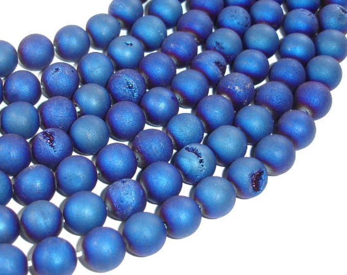 Druzy Agate Beads, Blue Geode Beads, 10mm (10.5mm) Round Beads, 15 Inch, Full strand, Approx 37 beads, Hole 1mm (122054097)