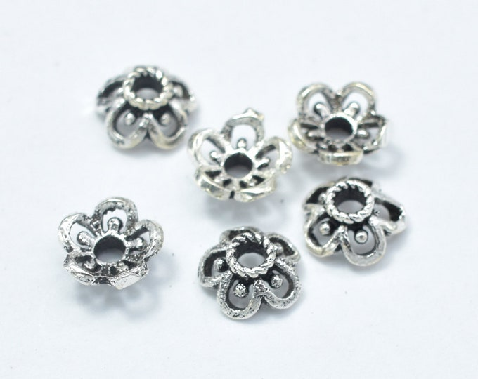 10pcs 925 Sterling Silver Bead Caps-Antique Silver, 5.5x2.4mm Flower Bead Caps, Hole 1.3mm (007902004)