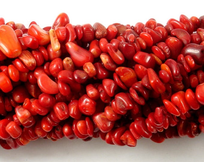 Red Bamboo Coral, 4mm -9 mm Chips Beads, 32 Inch, Long full strand, Hole 0.8mm (368005003)