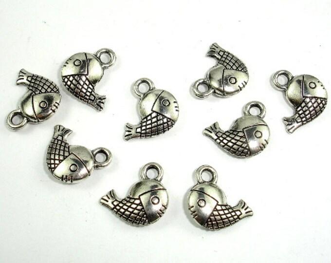 Fish Charms, Zinc Alloy, Antique Silver Tone, 12x12mm, 30 pcs, Hole 2 mm (006873072)