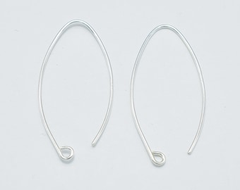 4pcs 925 Sterling Silver Arc Earwire, 20gauge Earring Hook, 35mm Long (007908010)