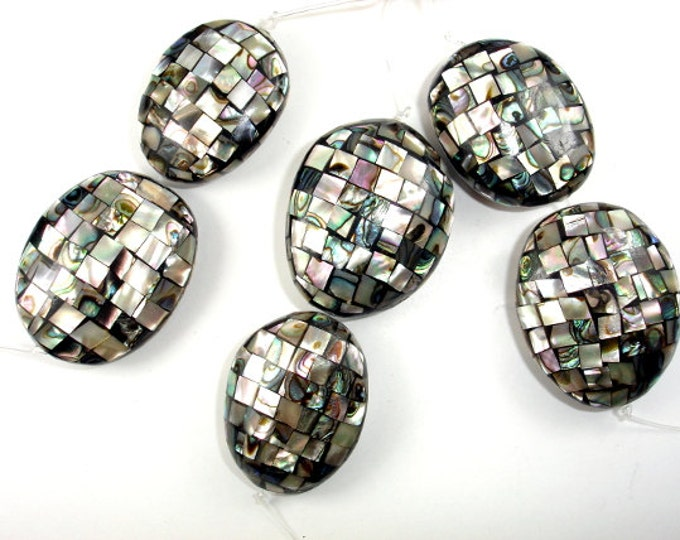 Abalone Beads, Double-Sided Patchwork Oval, 26x32mm - 30x38mm, 2 pcs, Hole 1mm, A quality (101051001)
