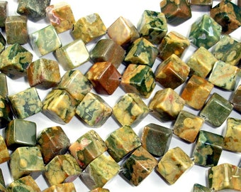 Rhyolite Beads, 10x10 mm Diagonal Cube Beads, 15.5 Inch, Full strand, Approx 28 beads, Hole 1 mm (387152001)