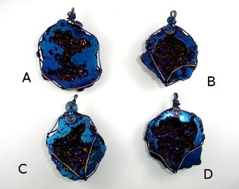 1 pc Druzy Geode Pendant, Blue / Purple Geode Pendant, Quartz Pendant wrapped with wire ( PNDT5)