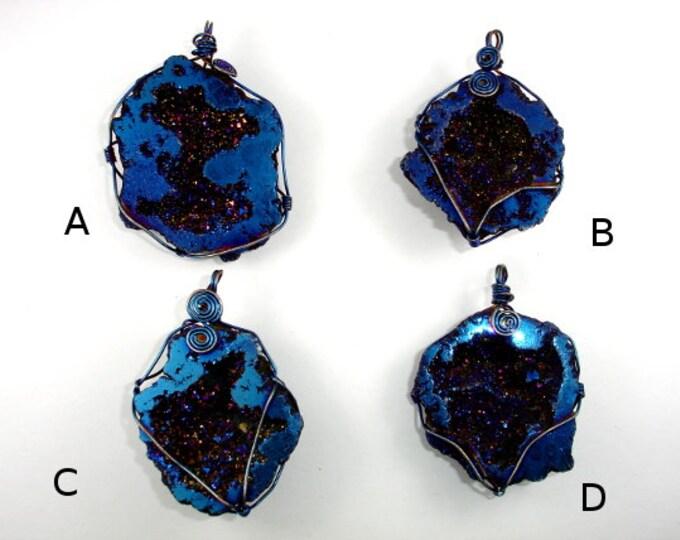 1 pc Druzy Geode Pendant, Blue / Purple Geode Pendant, Quartz Pendant wrapped with wire ( PNDT5)