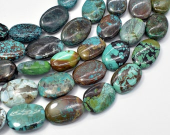 Genuine Turquoise, Approx (10-14)mmx(15-18)mm Oval Beads, 8 Inch, Half strand, Approx 12-14 beads, Hole 1mm (328030001)