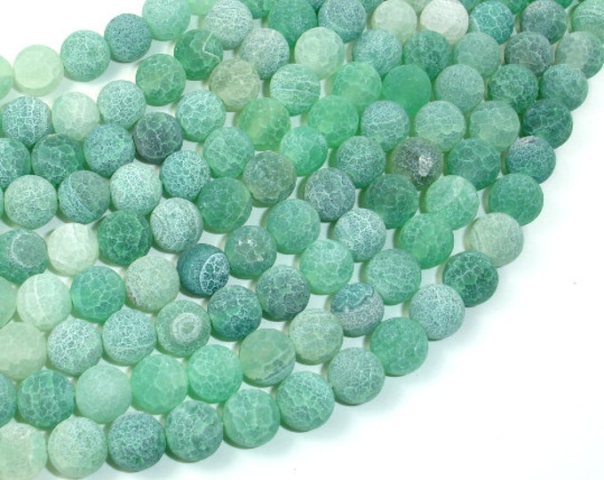 Frosted Matte Agate - Green, 8mm Round Beads, 15 Inch, Full strand, Approx 48 beads, Hole 1 mm (122054205)