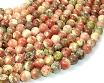 Spicy Jasper Beads, Plum Blossom Jasper, Round, 8mm (8.3mm), 15.5 Inch, Full strand, Approx 48 beads, Hole 1 mm, A quality (288054024)