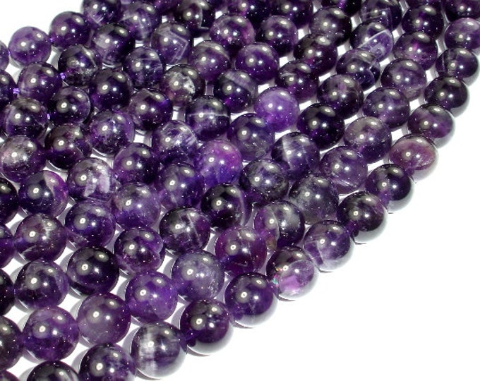 Amethyst, Approx 8mm (8.5mm) Round Beads, 15.5 Inch, Full strand, Approx 46-48 beads, Hole 1mm (115054020)