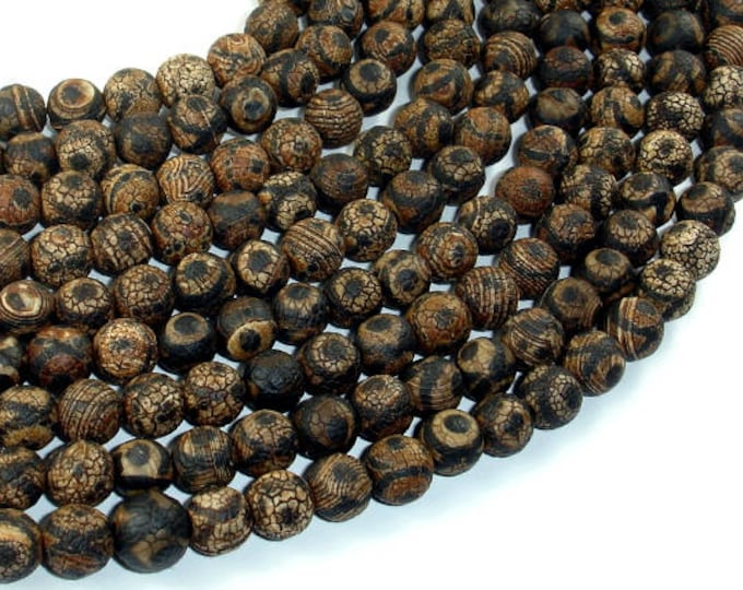 Crackle Tibetan Agate, 8mm(7.8mm) Round Beads, 14 Inch, Full strand, Approx 49 beads, Hole 1.2mm (122054260)